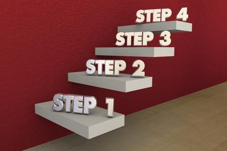 Los pasos 1 a 4 Un proceso de cuatro Ilustración Escaleras 3d