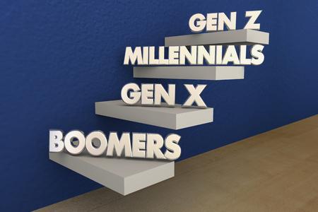 Baby Boomers Millennials Generation XYZ illustrazione 3d Archivio Fotografico