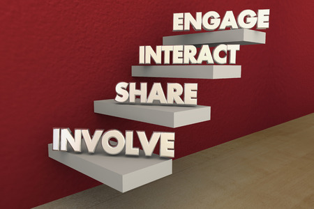 top animated: Involve Share Interact Engage Steps 3d Illustration