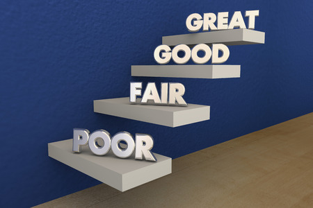 top animated: Poor Fair Good Great Grades Evaluation Steps 3d Illustration
