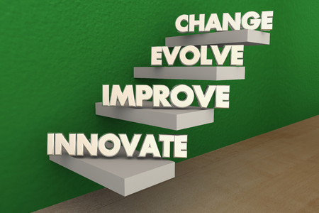 top animated: Innovate Improve Evolve Change Steps 3d Illustration