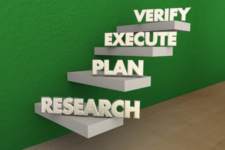 rise to the top: Research Plan Executve Verify Steps 3d Illustration Stock Photo