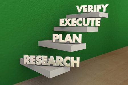 Research Plan Executve Verify Steps 3d Illustration Stock Photo