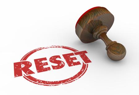 refreshed: Reset Reposition Change Disrupt Stamp 3d Illustration