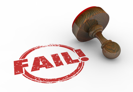 Fail Bad Result Stamp Reject Failure Word 3d Illustration Imagens