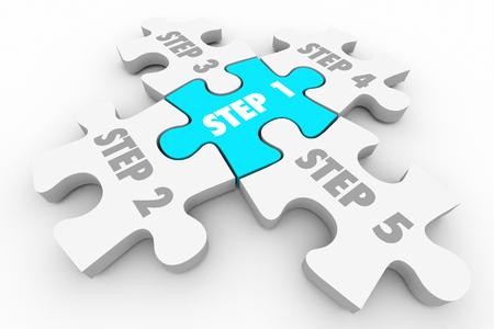 sistemas: Paso 1 a 5 Puzzle Procedimiento del Sistema Piezas 3d ilustración Foto de archivo