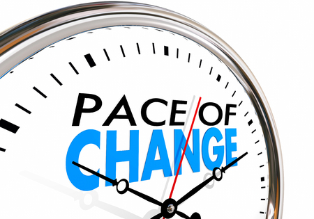 pace: Pace of Change Update Adapt Evolution Clock 3d Illustration Stock Photo