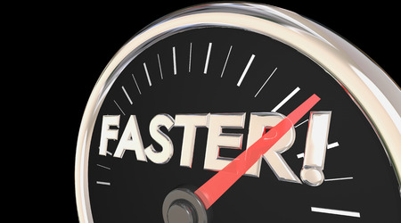 accelerating: Faster Word Speedometer Quick Action Acceleration 3d Illustration Stock Photo