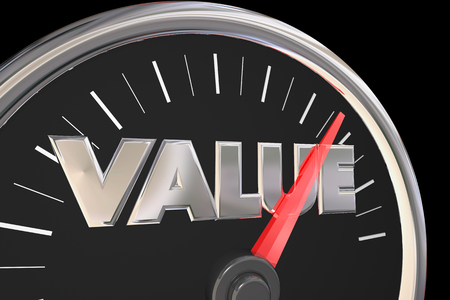 accelerating: Value Quality Price Best Deal Word Speedometer 3d Illustration