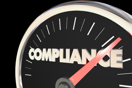 compliant: Compliance Speedometer Fast Action Follow Laws Rules 3d Illustration Stock Photo