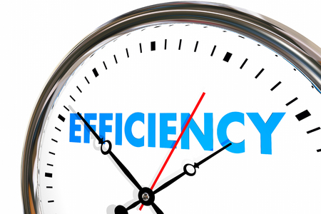 Eficiencia Productividad Reloj Palabra trabajo Resultados Ilustración 3d