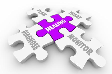 a diagnosis: Healing Diagnosis Treatment Wellness Puzzle 3d Illustration Stock Photo