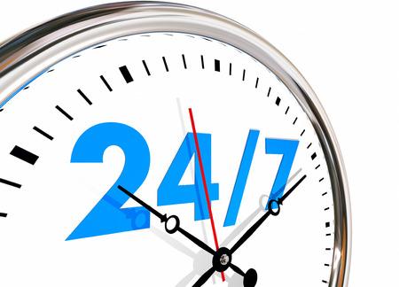 24 Stunden 7 Tage Woche Zahlen Clock 3D-Darstellung