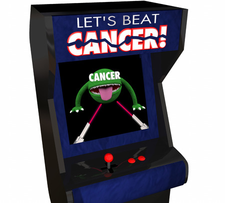 killing cancer: Fight Beat Cancer Treatment Cure Disease Arcade Game 3d Illustration Stock Photo