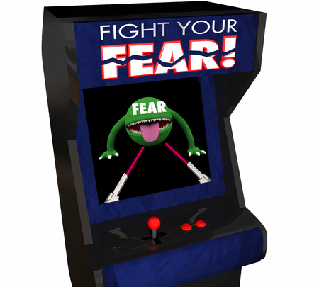 conquering: Fight Your Fear Beat Afraid Bravery Courage Arcade Game 3d Illustration