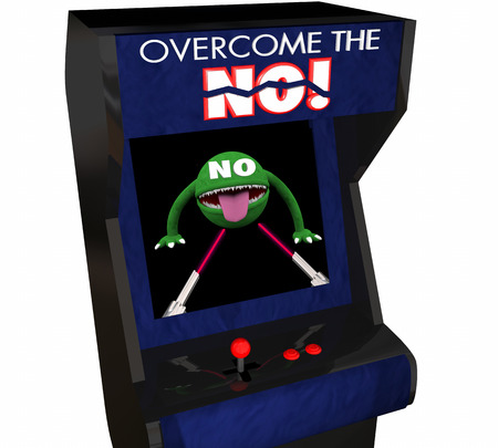 objection: Overcome the No Beat Objection Persuasion Arcade Game 3d Illustration Stock Photo