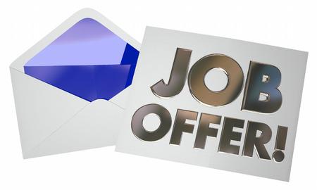 job opening: Job Offer Envelope Letter Note Opening New Career 3d Illustration