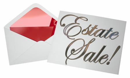 Uitnodiging Estate Sale Envelop Advertising Garage 3d Illustratie Stockfoto