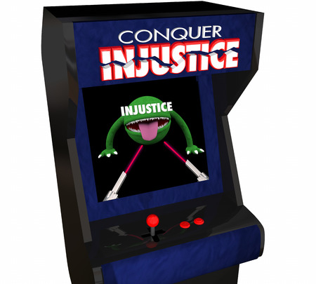 injustice: Beat Injustice Conquer Unfair Justice System Video Game 3d Illustration