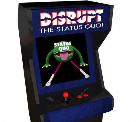 status: Disrupt Status Quo Change Innovate Video Game 3d Illustration Stock Photo