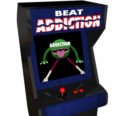 alcohol abuse: Addiction Fight Drug Alcohol Abuse Video Game Arcade 3d Illustration Stock Photo