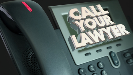 defendant: Call Your Lawyer Legal Help Lawsuit Sue Phone 3d Illustration