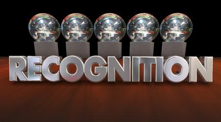 premios: Ceremonia de Premios de Reconocimiento Valoración trofeos Ilustración 3d Foto de archivo