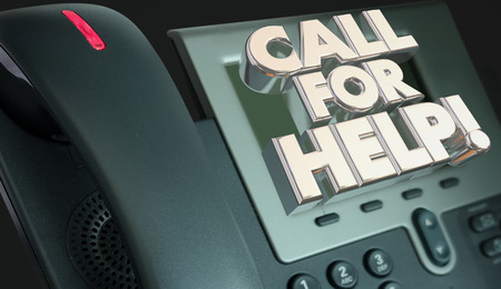 customer service phone: Call for Help Customer Service Assistance Phone 3d Illustration