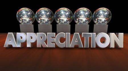 appreciated: Appreciation Awards Trophies Thanking Good Peformance 3d Animation
