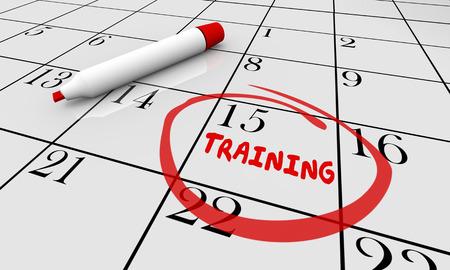 Educación Clase de formación de aprendizaje Calendario 3d ilustración