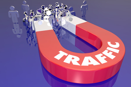 optimizing: Traffic Magnet Attract Audience Viewers Customers 3d Illustration