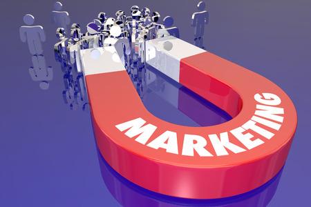 conclusion: Tire imán de comercialización de atraer a nuevos clientes ilustración 3d Foto de archivo