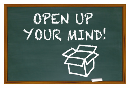 defining: Open Up Your Mind Chalk Board Expand Thinking 3d Illustration