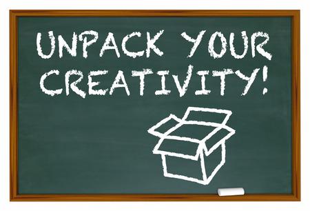 unpacking: Unpack Your Creativity Chalk Board Imagination 3d Illustration
