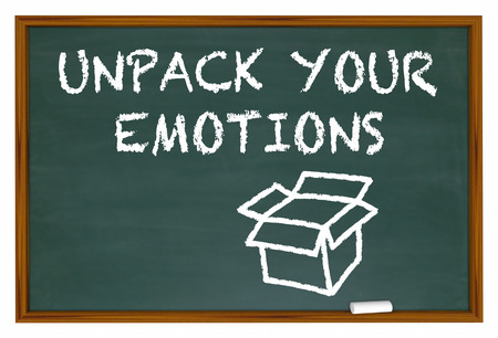 feelings and emotions: Unpack Your Emotions Feelings Chalk Board Words 3d Illustration