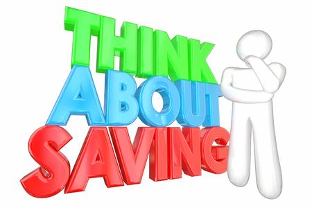 ganancias: Piense acerca de ahorrar dinero Planificación Financiera Ilustración 3d