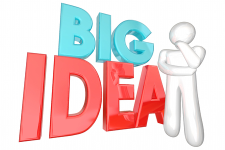 pondering: Big Idea Creative Thought Thinker Person Words 3d Illustration Stock Photo