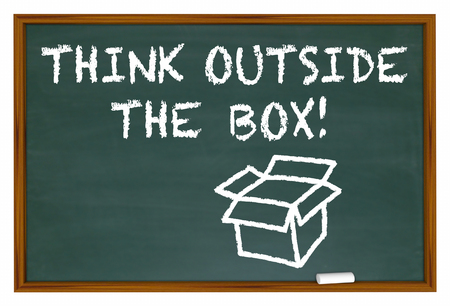 unleash: Think Outside the Box Chalk Board Words 3d Illustration
