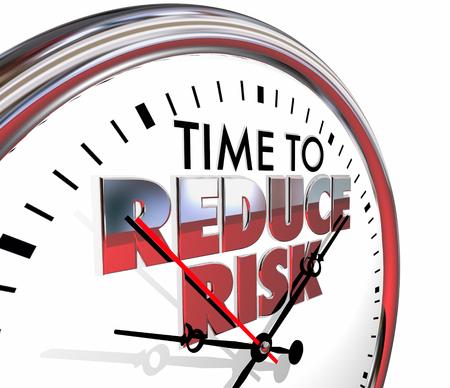 reduce risk: Time to Reduce Risk Clock Mitigation Danger 3d Illustration Stock Photo