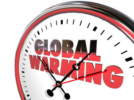 hands  hour: Global Warming Clock Temperatures Rising Climate Change 3d Illustration