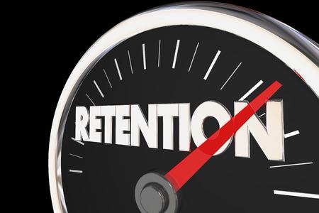 retention: Retention Level Rising Improvement Speedometer 3d Illustration Stock Photo