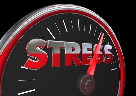 accelerating: Stress Level Rising Speedometer Gauge Word 3d Illustration