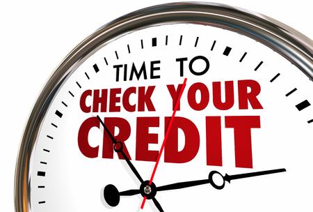 Tiempo para comprobar su puntuación de crédito Informe del reloj 3d ilustración
