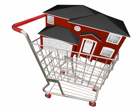 home buyer: House in Shopping Cart Home Buyer Seller Real Estate 3d Illustration