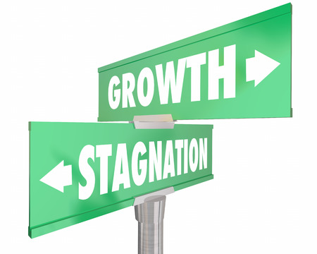 2 way: Growth Vs Stagnation Two 2 Way Road Street Signs 3d Illustration Stock Photo