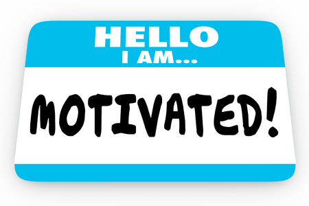 exciting: Motivated Inspired Encouragement Hello I Am Name Tag 3d Illustration Stock Photo