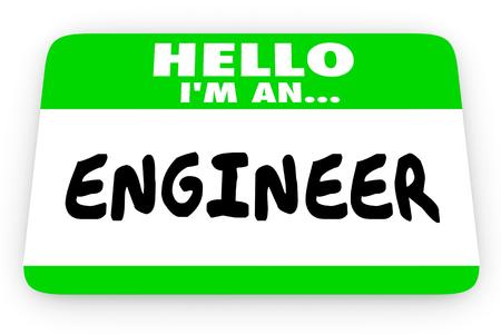 nametag: Engineer Job Career Hello Name Tag Sticker 3d Illustration Stock Photo