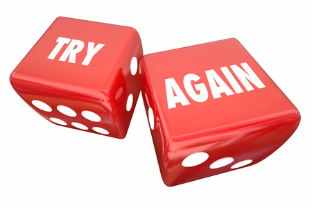 Try Again Persistence Determination Roll Dice 3d Illustration Stock Photo