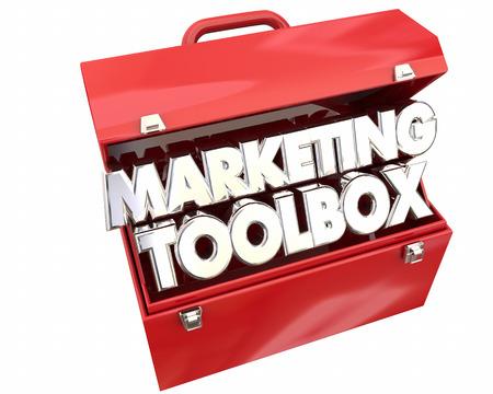 Marketing Toolbox Resources Information Tips Tricks 3d Illustration Фото со стока