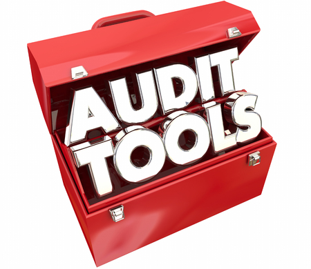 financial advice: Audit Tools Toolbox Tax Accounting Review 3d Illustration